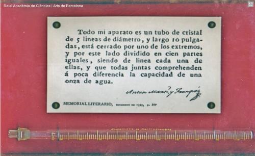 Eudiòmetre. Imatge de la Reial Acadèmia de Ciències i Arts de Barcelona