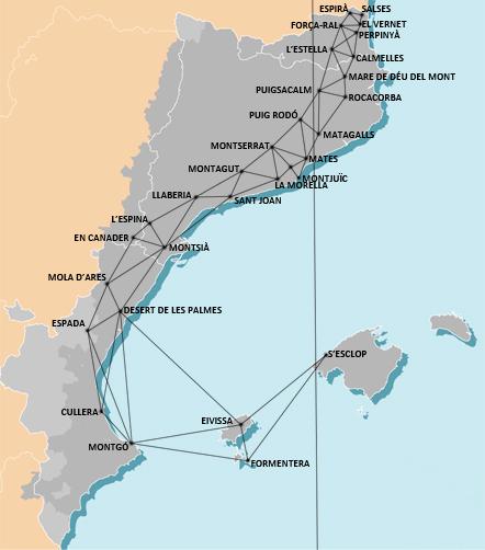 Triangulació dels Països Catalans. Imatge Wikimedia Commons.