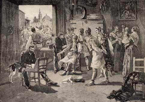 Vacunació contra el còlera a Alcira. Gravat de R. J. Contell