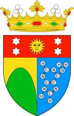 Escut del Marqués d'Oró, amb la fórmula de l'adenina. Imatge Wikimedia Commons.