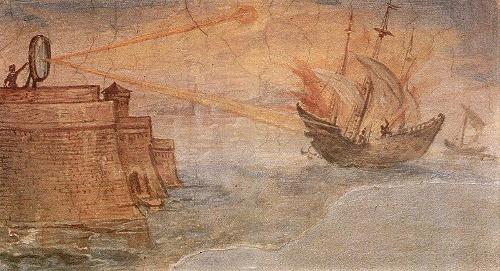 «Miralls d'Arquímedes incendiant vaixells romans»