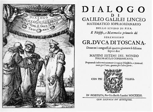 Galileo Galilei, «Dialogo sopra i due massimi sistemi del mondo, Tolemaico, e Copernicano». Imatge Wikimedia Commons.
