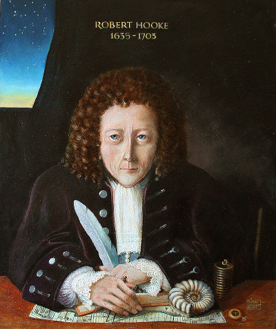 """13 Portrait of Robert Hooke"" by Rita Greer, 2004. Licensed under FAL via Commons."
